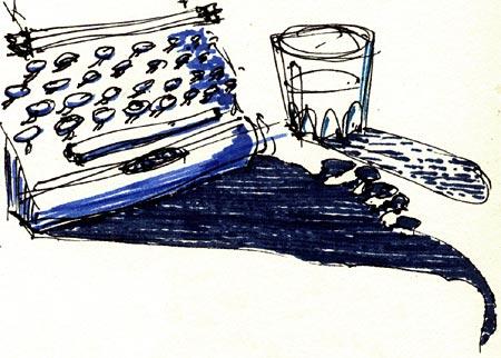 dessin: machine à écrire et son ombre
