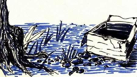 dessin: une boîte ouverte au pied d'un arbre
